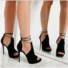 Buy 3 Color New Arrlval Women's Fashion Pure Color Casual Cross Tied Thin High Heels Peep Teo Sandals Fashion Shoes Fish Mouth Shoes Summer Fashion Dress Shoes Sandals at Wish - Shopping Made Fun Crazy Shoes, Me Too Shoes, High Heel Stiefel, Talons Sexy, Black High Heels, Shoes Heels Black, Cute Shoes Heels, Black Stilettos, Stiletto Heels