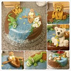 Row, row, row your boat themed cake for my Godson's 4th birthday as it is his favourite song. Streem/ crockadile / scream Shore/ lion/ raw River/ pola bear/ shiver