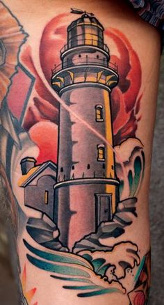 Color-Ink-Lighthouse-Tattoo-by-Marco-Schmidgunst.jpg (377×700)