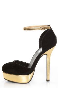 Merci 2 Black and Gold D'Orsay Platform Heels