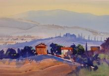 Stephen Quiller, View from Bagno Vignoni, September Fields, watercolor and gouache Watercolor Landscape, Watercolor Paintings, Painting Art, Watercolors, Italian Paintings, Portraits, View Source, Color Theory, Colors