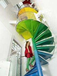 Rainbow spiral staircase in the Rainbow House (London) by Ab Rogers Design Interior Inspiration, Design Inspiration, Interior Ideas, Rainbow House, Under The Rainbow, London House, Stairway To Heaven, Staircase Design, Staircase Architecture