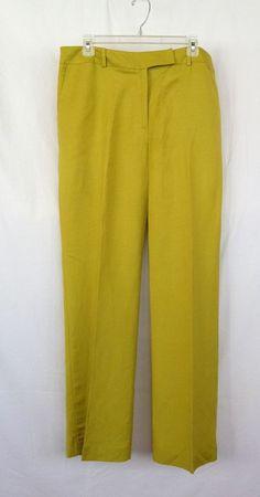 Rena Rowan 14 Linen/Rayon Chartreuse Green Trousers Super Nice! #RenaRowan #DressPants