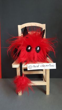 cute fluffy Devil Mimi Plushie Mascot – My Pin's Stuffed Animals, Fantasy Wesen, Your Favorite, Favorite Color, Cute Creatures, Plushies, Hand Sewing, Devil, Great Gifts