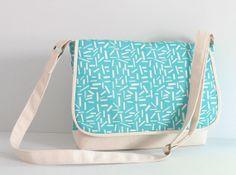 Aqua messenger bag  blue and white canvas crossbody by Hobbitbags, $48.00