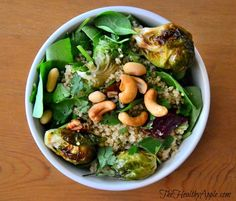 Roasted Brussels Sprout And Cashew Quinoa Salad {Gluten-Free, Dairy-Free, Soy-Free, Vegan} Recipe with 9 ingredients Recommended by 1 users. Vegan Brussel Sprout Recipes, Quinoa Salad Recipes, Veggie Recipes, Gluten Free Recipes, Real Food Recipes, Vegetarian Recipes, Healthy Recipes, Farro Recipes, Healthy Food