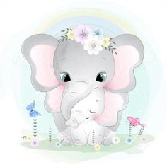 Cute Cartoon Elephant And Balloons Illustration Mother And Baby Elephant, Cute Baby Elephant, Little Elephant, Baby Elephants, Cartoon Elephant, Baby Cartoon, Cute Cartoon, Baby Animal Drawings, Cute Drawings