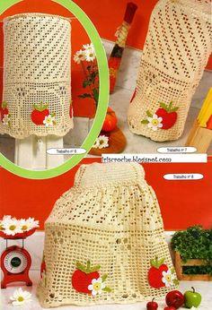 Crochê Gráfico: Jogo de cozinha de maçâs em crochê
