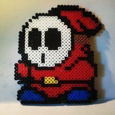 Shy Guy Mario perler beads by laura.jane.253