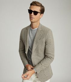 Grandad Collar Shirt, Grandad Shirts, Blazers For Men Casual, Smart Casual Men, Double Breasted Pinstripe Suit, Mens Summer Hairstyles, Double Monk Strap Shoes, Corporate Fashion, Checked Blazer