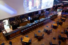 Large projected images in a sports bar.