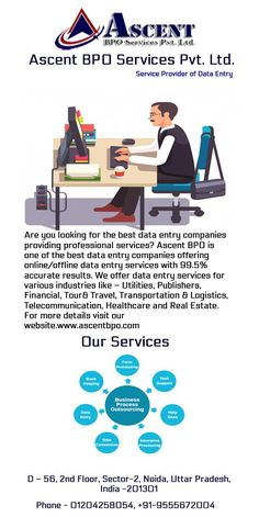 Ascent is a leading BPO company located in Noida that offers data entry process outsourcing services to big and small business organizations of various sectors. Data Entry Projects, Data Conversion, Web Research, Small Business Organization, Data Processing, Professional Services, Organizations, Big, Organizing Clutter