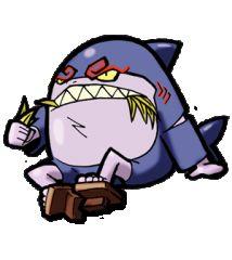 妖怪ウォッチの妖怪大図鑑 - cureco beta ミチクサメ 学校通りのこどもたちにあの手この手で道草をくわせ大きな口でのみこんでしまうおそろしいサメの妖怪。植物マニアという一面も