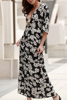 Plunging Neck Printed Boho Dress #CLICK! #clothing, #shoes, #jewelry, #women, #men