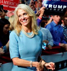 Kelly Ann Conway Trump campaign manager.... we owe her so big.... Trump couldn't have done it without this woman... the first Woman to run a successful campaign... hats off to her Amazing... help pull a rabbit of a hat and still so humble.