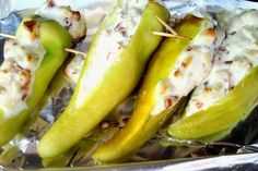 Staple at our house for bbq's - banana peppers stuffed w/ cream cheese on the grill!