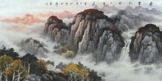Tranquil Deep Mountains Landscape Abstract art Chinese Ink Brush Painting, 68CM*136CM Chinese wall scroll painting Freehand brush work Artist original works of handwriting Rice paper Traditional art painting. USD $ 930.00