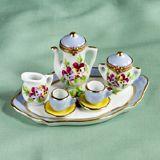 Limoges purple pansies tea service