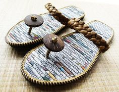 Flip flops of recycled newspaper and other natural materials.  Good.