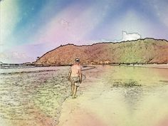 Water colour of me walking along beach. Yes, I do have a bit of weight on me. More walking, here I come.