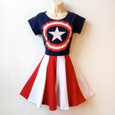 Captain America Dress Miss America Superhero Dress Womens Superhero... ($78) ❤…