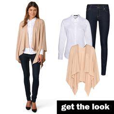 Poncho, Hemdbluse und Skinny Jeans von zero #zerofashion #getthelook #outfit #ootd