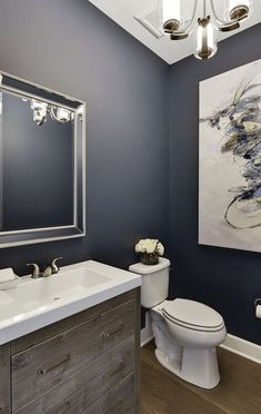 Popular Bathroom Paint Colors, It's exhausting enough keeping bathrooms clean and arranged, who has time for a renovatio Bathroom Wall Colors, Modern Bathroom Decor, Bathroom Interior Design, Bathroom Ideas, Bathroom Organization, Blue Bathroom Paint, Blue Bathrooms, Bathroom Beadboard, Navy Bathroom