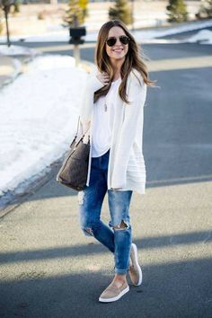 blanknyc good vibes jeans, target taupe slip on sneakers, spring fashion 2017 Sneakers Fila, Dress And Sneakers Outfit, Sneakers Fashion Outfits, Outfit Jeans, Mode Outfits, White Sneakers Outfit Spring, Sneaker Outfits, Tennis Shoes Outfit, Gold Sneakers