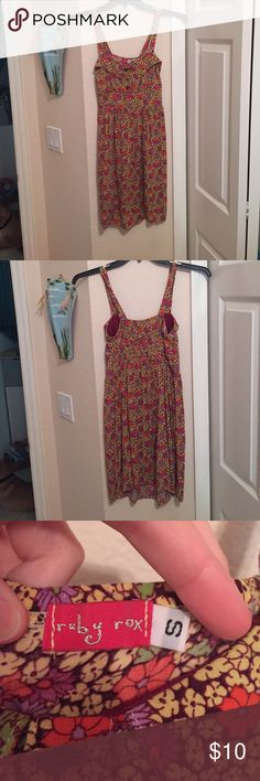 Floral tank top dress Cute floral dress with elastic along the back Ruby Rox Dresses Midi