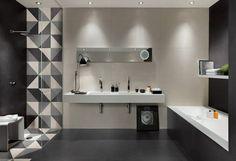 baño azulejos lisos negros blancos