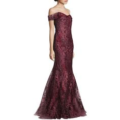 RENE RUIZ Off-the-Shoulder Embellished Gown (2 320 AUD) ❤ liked on Polyvore featuring dresses, gowns, apparel & accessories, off the shoulder dress, rene ruiz gowns, off the shoulder evening gown, purple dress and short sleeve dress