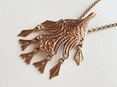 Kalevala Koru Large Bronze Bird Pendant / Brooch Finland by LifeUpNorth Handmade Silver, Handmade Items, Finland, Beautiful Necklaces, Silver Jewelry, Feather, Pendants, Bronze, Bird
