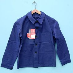 Vintage French chore jacket |Bleu de travail|Deadstock blue French workwear jacket|Sanfor