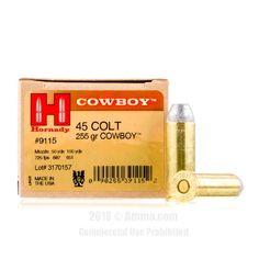 Hornady 45 Long Colt Ammo - 20 Rounds of 255 Grain LFN Ammunition #45LongColt #45LongColtAmmo #Hornady #HornadyAmmo #Hornady45LongColt #LFN #HornadyCowboy