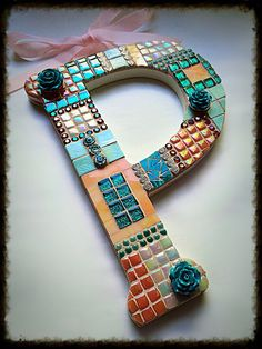 Mosaic letter P Initial P Nursery home decor wall art Wedding shower gift Baby girl gifts Paula Pam Penelope Patricia Piper Peach Aqua art