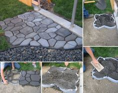 cobblestone DIY concrete path ------- this is like the mold I have. Backyard Projects, Outdoor Projects, Garden Projects, Home Projects, Backyard Ideas, Lawn And Garden, Garden Paths, Home And Garden, Garden Paving