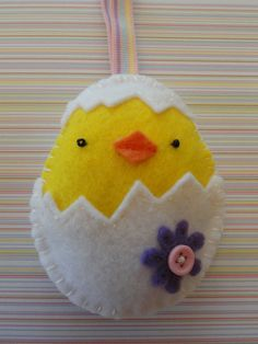 soft felt Easter ornament kids chick in egg by LynnsLittleShop