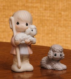 Precious Moments Shepherd with Sheep 2  Christmas Figurines 213616 by RebornToAdorn on Etsy
