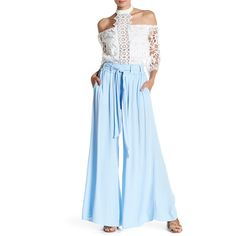 Whyte Eyelash Belted Wide Leg Pant ($45) ❤ liked on Polyvore featuring pants, blue, blue wide leg pants, tie belt, stretch waist pants, wide-leg pants and elastic waist pants