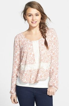 Free shipping and returns on Lush Long Sleeve Lace Inset Top (Juniors) at Nordstrom.com. Lace details enhance the feminine charm of a lively printed top framed with girly blouson sleeves.