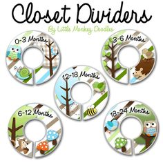 CLOSET DIVIDERS Owls Love Stripes Boys Forest Woodland Bedroom and Baby Nursery Art Decor. $12.00, via Etsy.