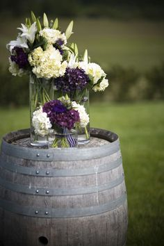Purple/ivory/green flowers. Simple and pretty wedding