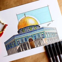 Architectural Drawing Patterns Awesome drawing of the Dome of Rock by Saudi Arabia based architectural student Mosque Architecture, Architecture Sketchbook, Architecture Panel, Architecture Portfolio, Architecture Design, Palestine Art, Dome Of The Rock, Drawing Skills, Drawing Art