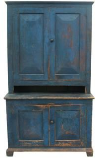 """Early 19th century New York State, Stepback Cupboard, with wonderful blue paint, The doors are  very unusual wide  chamfered panels,and mortised and pegged, applied base molding, with a small crown molding at the top, original red painted interior, with a five 5' pie shelf.21 3/4"""" deep x 46"""" wide x 80 3/4"""" tall - gorgeous!!!!"""