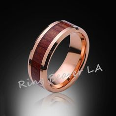 8mm,Unique,Rose Gold,Koa Wood,Tungsten RIng,Rose Gold,Wedding Band,wood inlay,Unisex,Comfort Fit