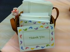 Baby Shower Thank You's         We purchased thank you cards for the new mom, and passed around envelopes at the  baby shower for the guests to address.      This allows the new mom get a jump start on her thank you's and ensures she has everyone's address.