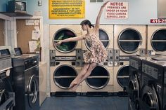 Ballerina in a Laundromat | Stinky Towels? | Smelly Laundry? | http://WasherFan.com | Permanently Eliminate or Prevent Washer & Laundry Odor with Washer Fan™ Breeze™ | #Laundry #WasherOdor #SWS