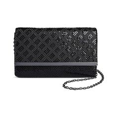 Tevolio Women's Diamond Mesh Compartment Clutch Handbag -Black, Black (1.875 RUB) ❤ liked on Polyvore featuring bags, handbags, clutches, black, plus size, hand bags, handbags purses, mesh handbag, mesh purse and pattern purse
