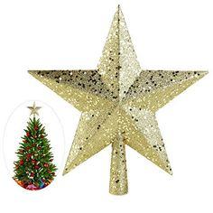 NICEXMAS Christmas Tree Toppers Star Treasures Glittered Decoration Ornament 9 inch Gold * For more information, visit image link.