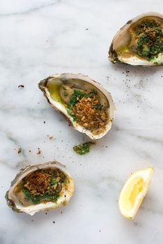Oysters for the Oscars: broiled oysters with green herb butter and breadcrumb topping|kitchentablefood.com